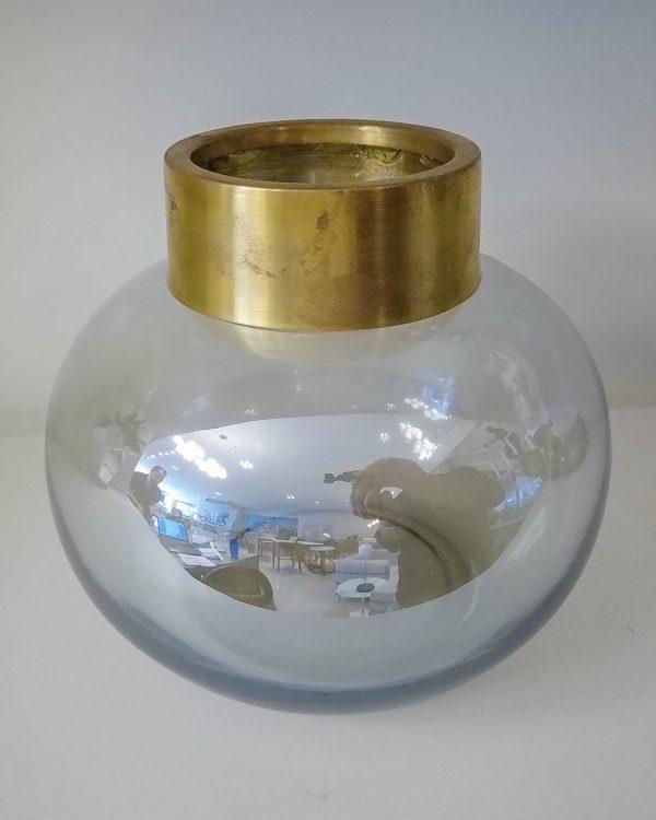 Lucatti Vaso Decorativo Vidro Cinza com Dourado alt