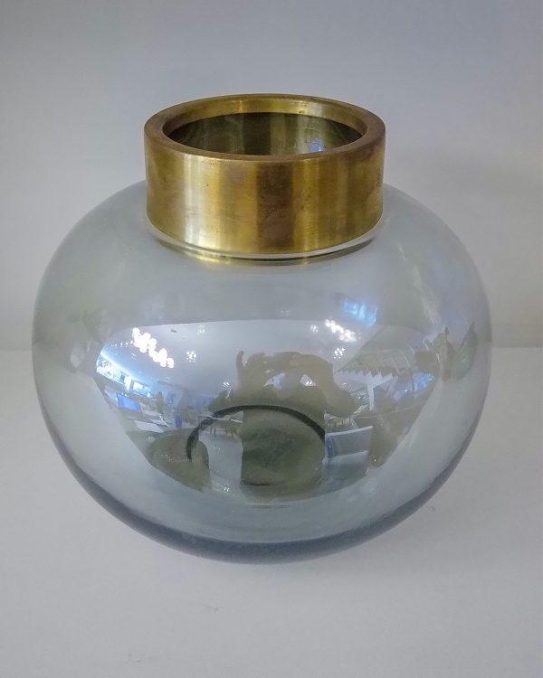 Lucatti Vaso Decorativo Vidro Cinza com Dourado